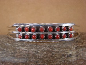 Zuni Indian Jewelry Handmade Sterling Silver Coral Bracelet Livingston