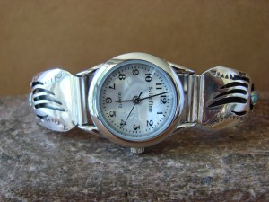 Native American Indian Jewelry Sterling Silver Turquoise Bear Paw Lady's Watch