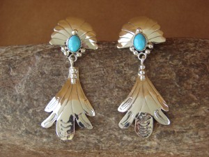 Native American Sterling Silver Turquoise Dangle Earrings! Francisco