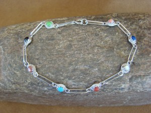 Zuni Indian Jewelry Multi Stone Sterling Silver Link Bracelet! Rosie Laweka