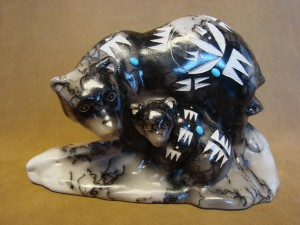 Navajo Indian Pottery Horse Hair Standing Bear & Cub Sculpture by Vail! Etched