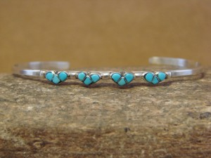 Small Zuni Indian Jewelry Sterling Silver Turquoise Heart Bracelet!