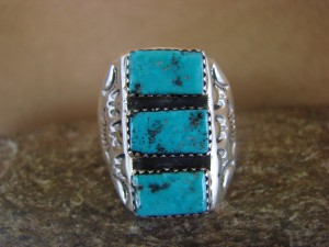 Native American Jewelry Sterling Silver Turquoise Men's Ring Size 11 1/2
