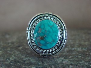 Native American Indian Jewelry Sterling Silver Turquoise Ring, Size 6 1/2  S. Yellowhair