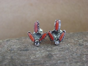 Native American Indian Jewelry Sterling Silver Coral Post Earrings! Zuni Indian