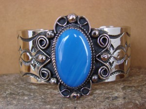 Native American Jewelry Nickel Silver Blue Howlite Bracelet by Jackie Cleveland!