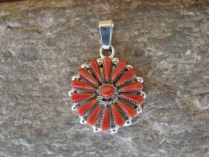 Zuni Indian Sterling Silver Needle Point  Coral Pendant - Halusewa