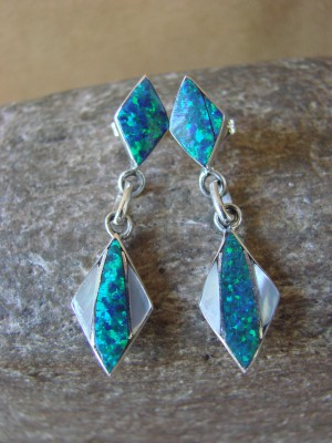 Zuni Indian Jewelry Sterling Silver Inlay Earrings Jonathan Shack - LL0169