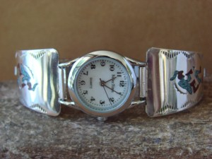 Native American Indian Jewelry Sterling Silver Chip Inlay Turquoise Lady's Watch