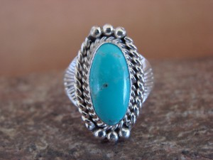 Native American Indian Jewelry Sterling Silver Turquoise Ring, Size 5 1/2 Mariano