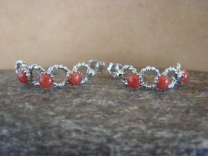 Native American Sterling Silver Coral Hoop Earrings! Running Bear