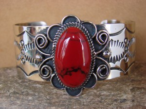 Native American Jewelry Nickel Silver Red Howlite Bracelet by Jackie Cleveland!