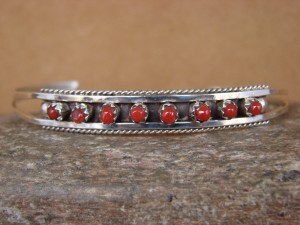 Small Zuni Indian Jewelry Sterling Silver Coral Bracelet