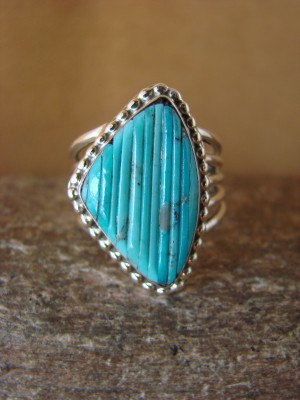 Native American Jewelry Sterling Silver Turquoise  Ring! Size 8