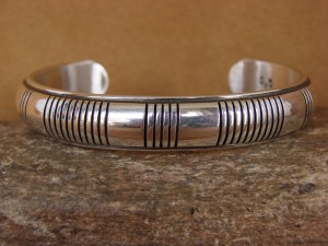 Navajo Indian Jewelry Sterling Silver Hand Stamped Bracelet by Jonathan Nez