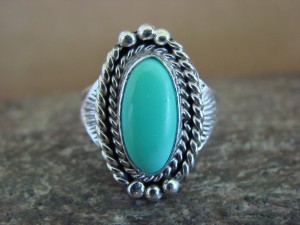 Native American Indian Jewelry Sterling Silver Turquoise Ring, Size 7 Mariano