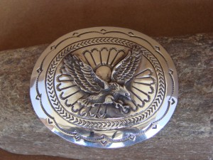 Navajo Indian Jewelry Sterling Silver Eagle Belt Buckle Carson Blackgoat