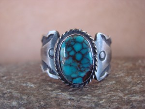 Native American Jewelry Sterling Silver Turquoise Ring!  Size 13 1/2