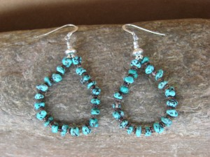 Santo Domingo Hand Beaded Turquoise and Shell Earrings by Jeanette Calabaza