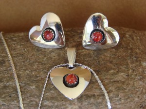 Native American Sterling Silver Coral Heart Necklace & Earrings Gift Set!