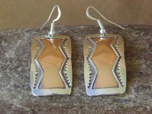Navajo Indian Jewelry Sterling Silver Copper Earrings by Douglas Etsitty