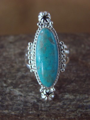 Native American Jewelry Sterling Silver Turquoise Ring by Tom Dinetso! Size 6 1/2