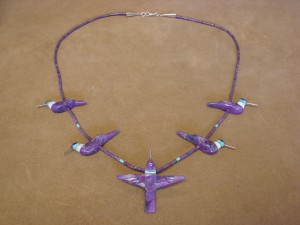 Hand Carved Dyed Mohave Turquoise Hummingbird Fetish Necklace by Matt Mitchell!
