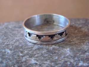 Native American Sterling Silver Gold Fill Petroglyph Ring by Skeets! Size 11 1/2