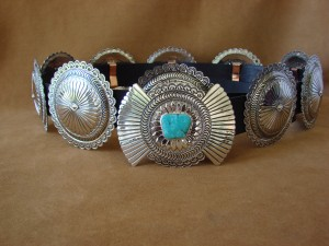 Native American Jewelry Turquoise Nickel Silver Concho Belt Carson Blackgoat