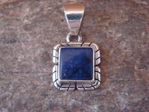 Navajo Indian Jewelry Sterling Silver Lapis Pendant by Skeets KK0215