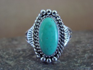 Native American Indian Jewelry Sterling Silver Turquoise Ring, Size 9 1/2 Mariano