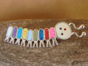 Zuni Indian Caterpillar Pin Opal Sterling Silver-  Emma Edaakie