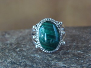 Native American Jewelry Sterling Silver Malachite Ring! Size 6 Barney