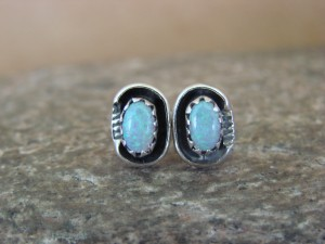 Native American Sterling Silver Opal Post Earrings! Handmade!