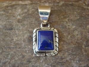 Navajo Indian Jewelry Sterling Silver Lapis Pendant by Skeets KK0216
