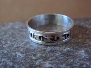 Native American Sterling Silver Gold Fill Petroglyph Ring by Skeets! Size 10 1/2