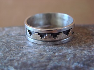 Native American Sterling Silver Gold Fill Petroglyph Ring by Skeets! Size 8
