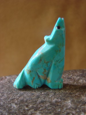 Zuni Indian Hand Carved Turquoise Howling Coyote by Danette Laate