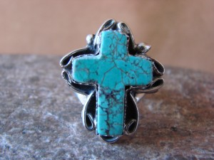 Native American Nickle Silver Turquoise Ring Size 4, by Phoebe Tolta