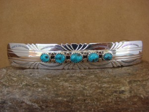 Native American Jewelry Hand Stamped Silver Turquoise Hair Barrette! Navajo Indian