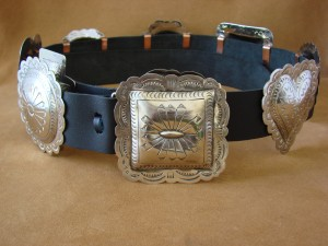 Native American Jewelry Hand Stamped Nickel Silver Concho Belt Carson Blackgoat