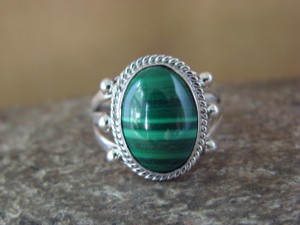 Native American Jewelry Sterling Silver Malachite Ring! Size 7 Barney
