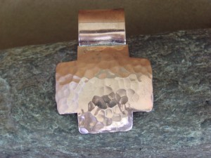 Navajo Indian Jewelry Copper Hammered Cross Pendant! Handmade by Douglas Etsitty