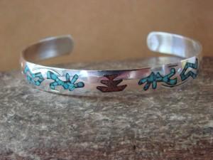 Native Indian Sterling Silver Kokopelli Chip Inlay Bracelet by Yazzie