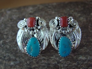 Native American Sterling Silver Turquoise and Coral Post Earrings - Montoya