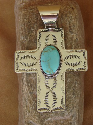 Native American Nickle Silver & Turquoise Cross Pendant Jackie Cleveland