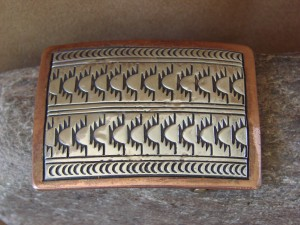 Native American Jewelry Hand Stamped Silver and Copper Belt Buckle