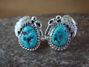 Native American Sterling Silver Turquoise Post Earrings by Roberta Begay
