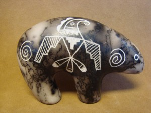 Native American Indian Pottery Horse Hair Bear by Gary Yellow Corn Louis! Acoma
