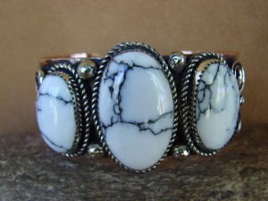 Native American Jewelry Copper White Howlite Bracelet by Jackie Cleveland!